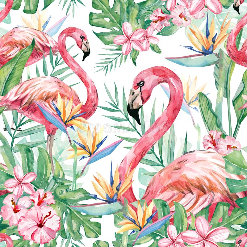 Watercolor tropical floral and flamingo seamless pattern stock illustration