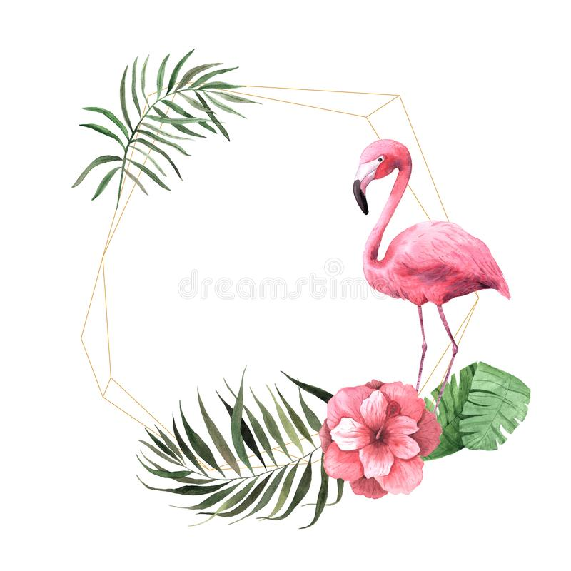 Watercolor tropical floral geometric frame royalty free illustration