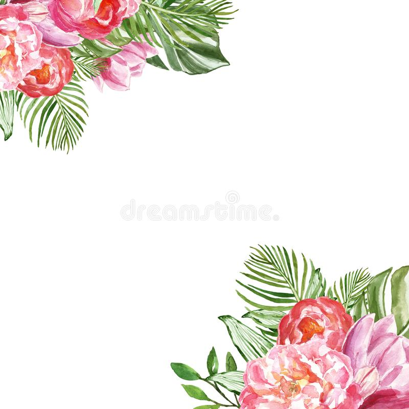 Watercolor tropical floral illustration with pink peonies and green exotic foliage. Pink flowers for cards design royalty free illustration