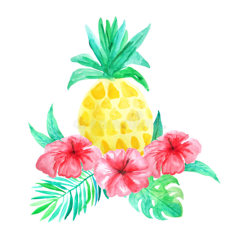Watercolor Tropical Flowers, Leaves And Pineapple Stock ...