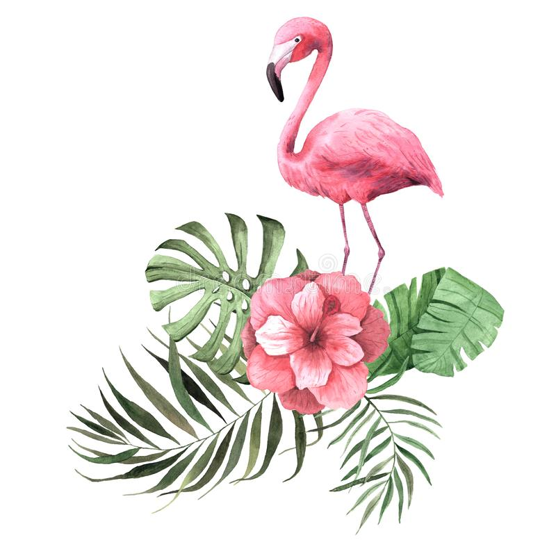 Watercolor tropical flowers, leaves and plants and flamingo vector illustration