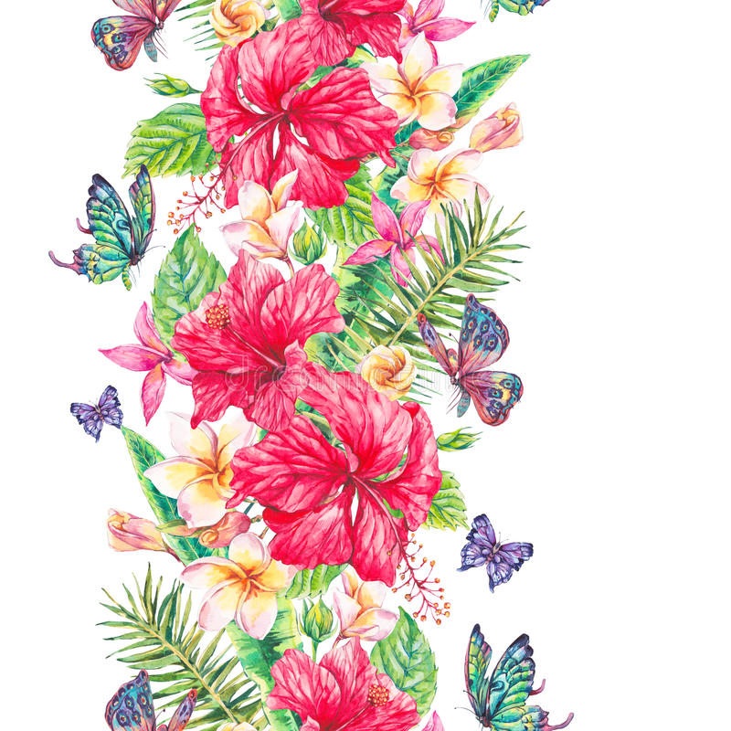 Watercolor tropical flowers seamless border vector illustration