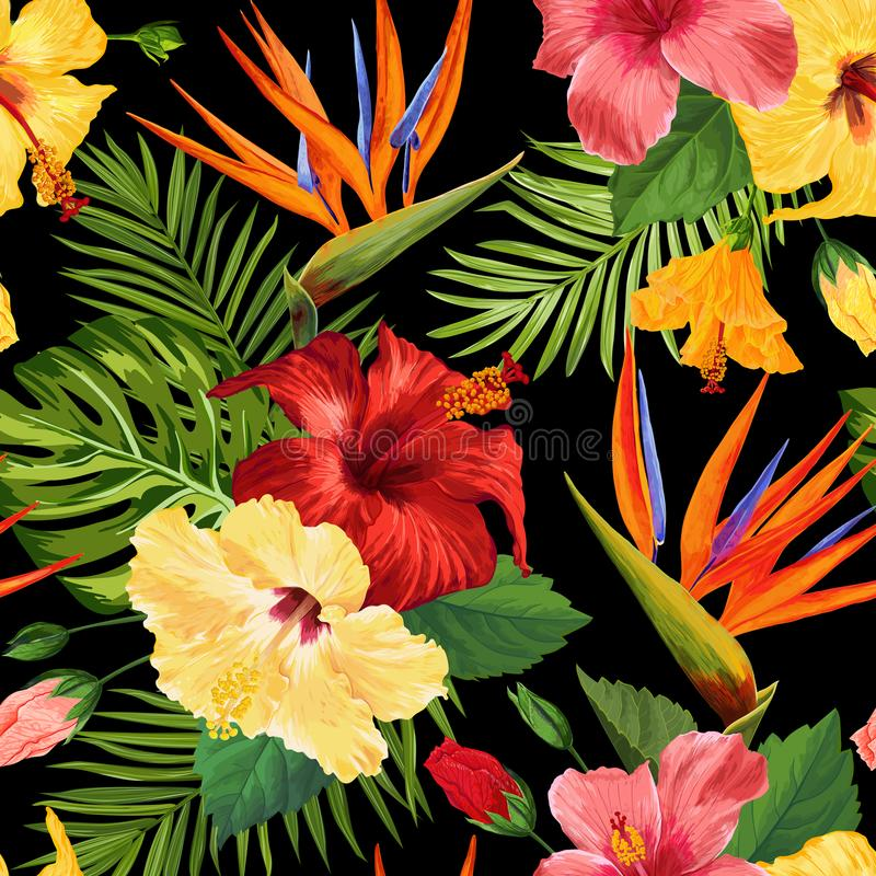 Watercolor Tropical Flowers Seamless Pattern. Floral Hand Drawn Background. Exotic Blooming Hibiskus Flowers Design royalty free illustration
