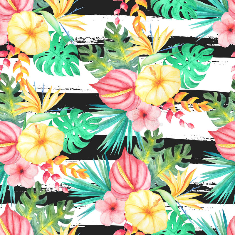 Watercolor tropical flowers vector illustration