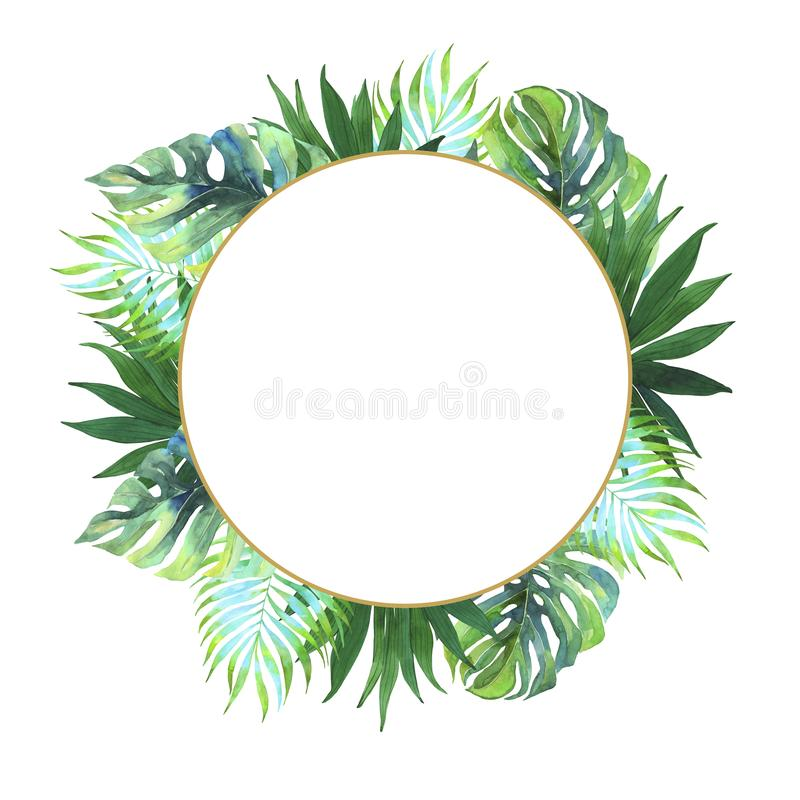 Watercolor tropical frame. Exotic leaves of Monstera, coconut palms. Wedding invitation. Summer postcard. Round frame. Watercolor tropical print. Watercolor vector illustration