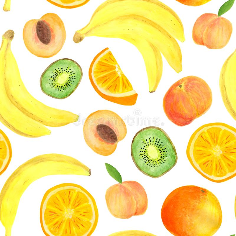 Watercolor tropical fruits seamless pattern. Hand drawn banana, kiwi slice, peach, orange isolated on white background stock illustration