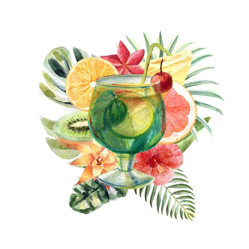 Watercolor tropical illustration with summer cocktail, fruits and flowers vector illustration