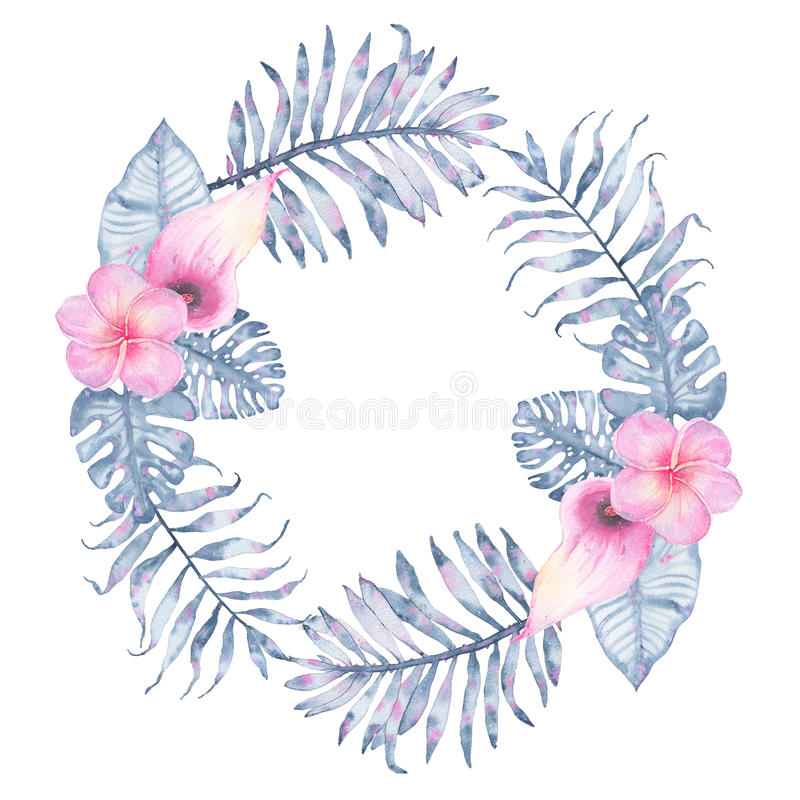 Watercolor tropical indigo floral wreath with pink calla frangipani and leaves of indigo palm monstera royalty free illustration