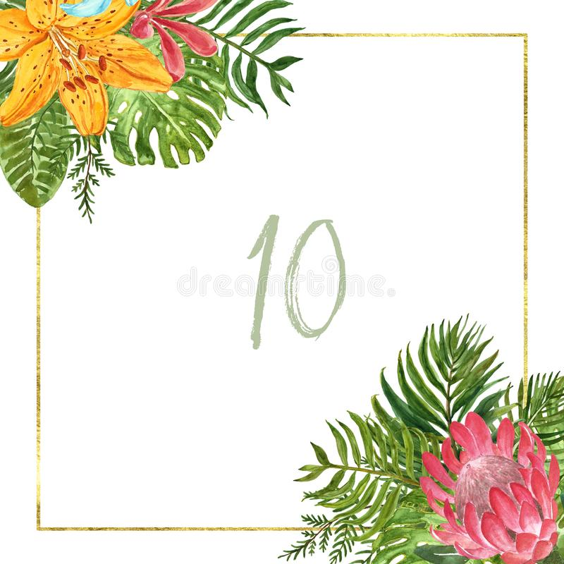 Watercolor tropical leaf frame. Golden square border with green exotic plants and flowers on white background. Summer wreath. Summer tropical border with vector illustration