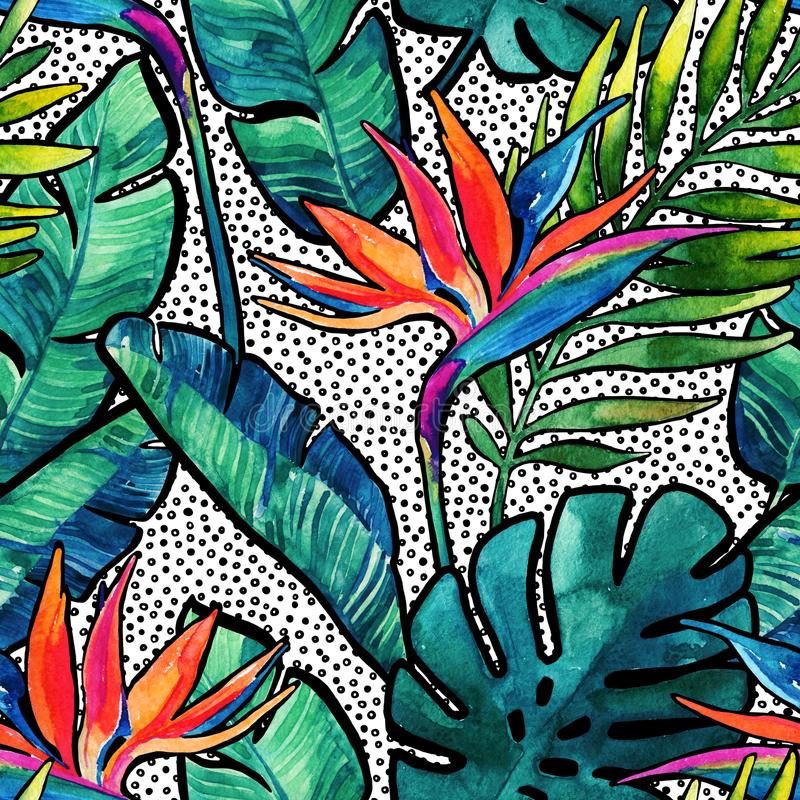 Watercolor tropical leaves and flowers with contour seamless pattern. Watercolour monstera, palm leaves, bird-of-paradise on dots background. Hand painted vector illustration