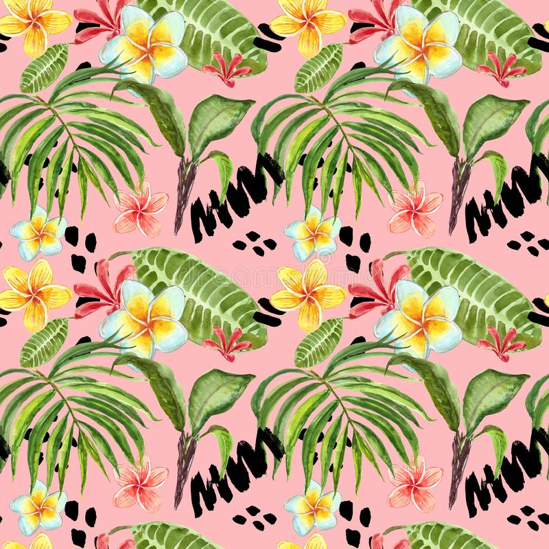 Watercolor tropical leaves seamless pattern. Hand painted palm leaf, exotic plumeria flowers and green foliage on bright pink royalty free illustration