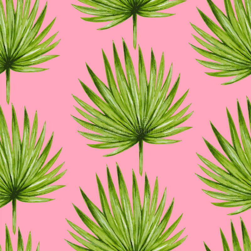 Watercolor tropical palm leaves seamless pattern. stock illustration