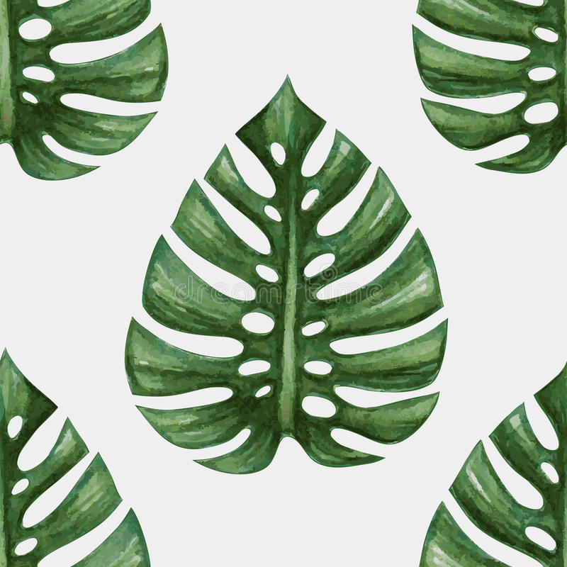 Download Watercolor Tropical Palm Leaves Seamless Pattern Stock Vector