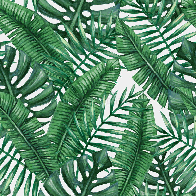 Download Watercolor Tropical Palm Leaves Seamless Pattern Stock Illustration