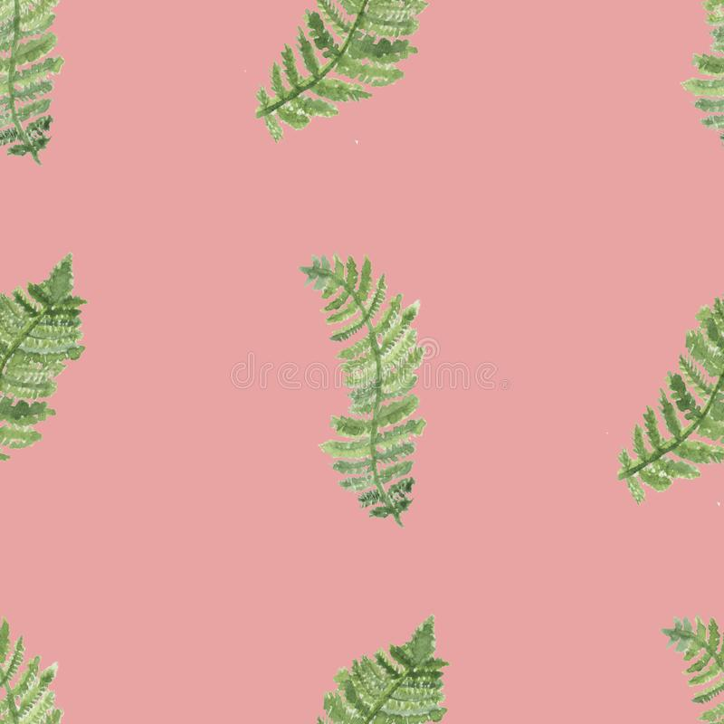 Watercolor tropical pattern with green tropical leaves stock illustration