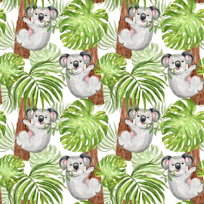 Watercolor tropical pattern with koala bear, palm and monstera leaf on white background. Summer botanical print, exotic animal royalty free illustration