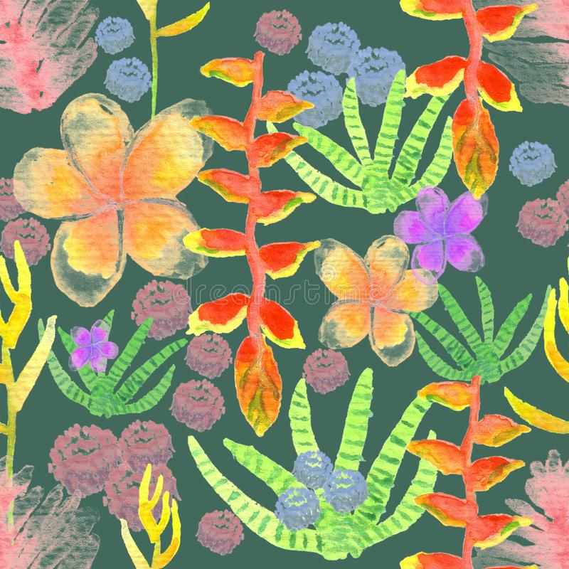 Download Watercolor Tropical Plants Seamless Pattern On Dark Green Background Stock Illustration - Illustration of texture, repeat: 115983064