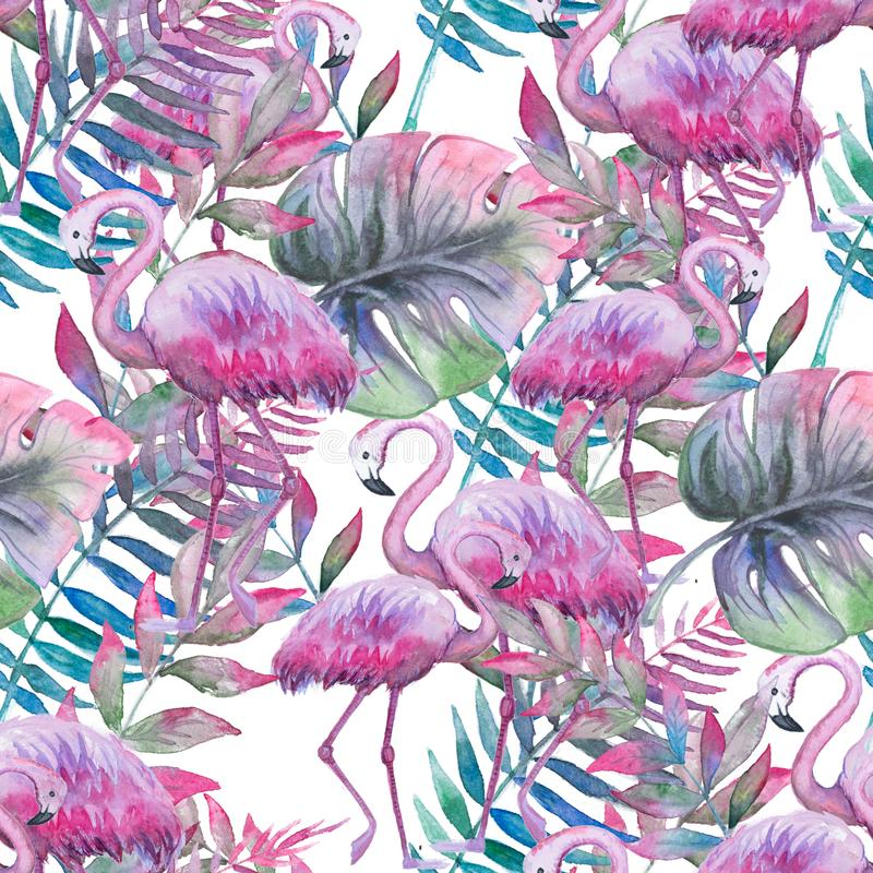 Watercolor tropical seamless floral pattern. Colorful paint background. Purple, pink and green texture. Floral mix royalty free illustration