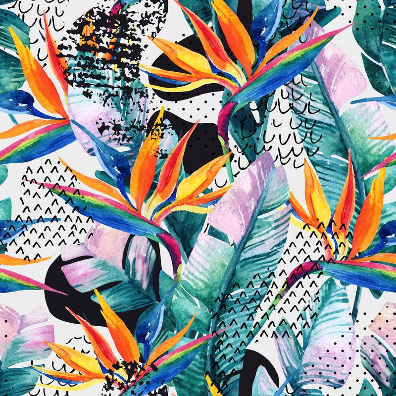 Watercolor tropical seamless pattern with bird-of-paradise flower. Exotic flowers, leaves, smooth bend shape filled with doodle, m. Inimal, grunge texture stock illustration