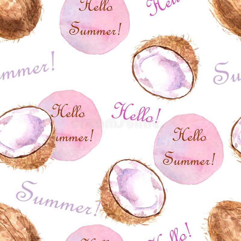 Watercolor tropical seamless pattern with coconut and text on a white background royalty free illustration