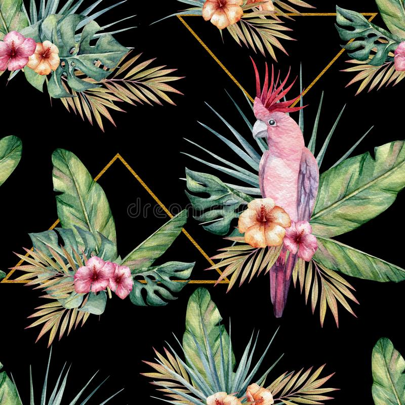 Watercolor tropical seamless pattern with parrots stock illustration