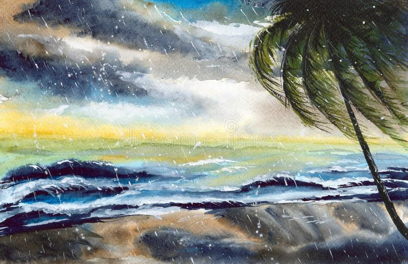 Watercolor tropical storm stock illustration