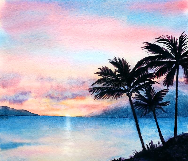 Watercolor tropical sunset landscape with silhouettes of palms stock images