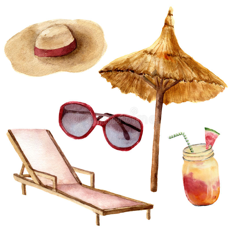 Watercolor tropical vacation set. Hand painted summer beach objects: sunglasses, beach umbrella, coctail, beach chair royalty free illustration