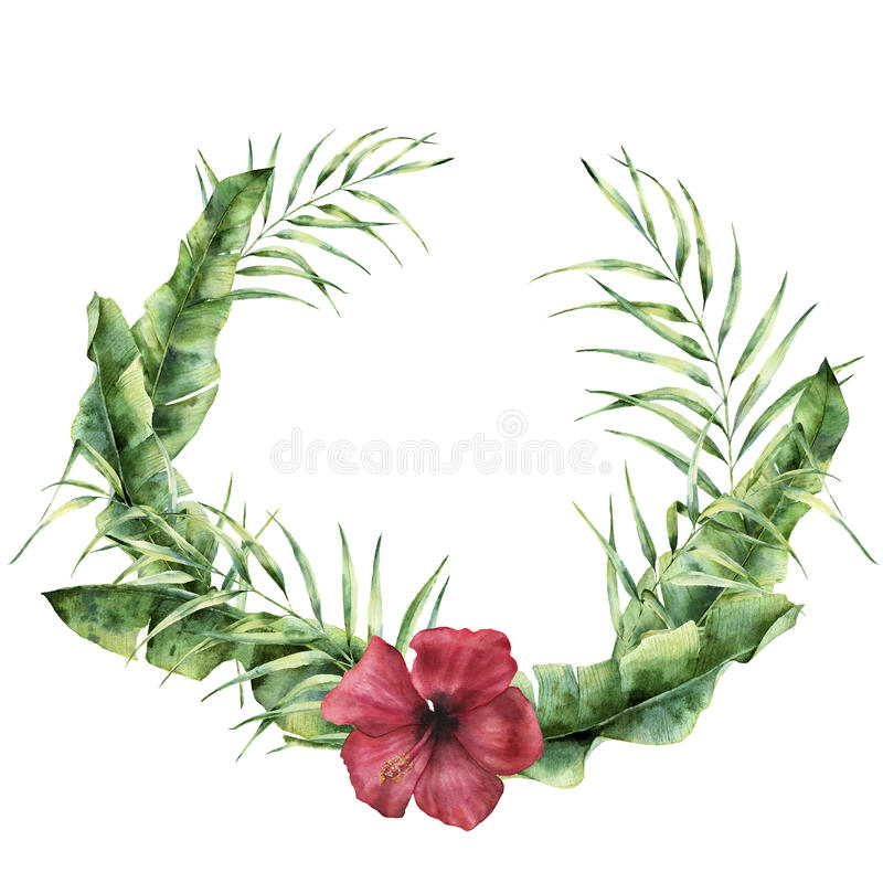 Watercolor tropical wreath with exotic leaves and flower. Hand painted coconut and banana palm tree branch, hibiscus vector illustration