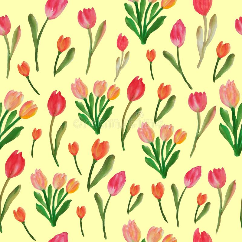 Watercolor tulips seamless floral pattern. Red watercolor tulips seamless pattern. Floral pattern of red tulips flower. texture of bag, cloth, postcard, paper royalty free illustration