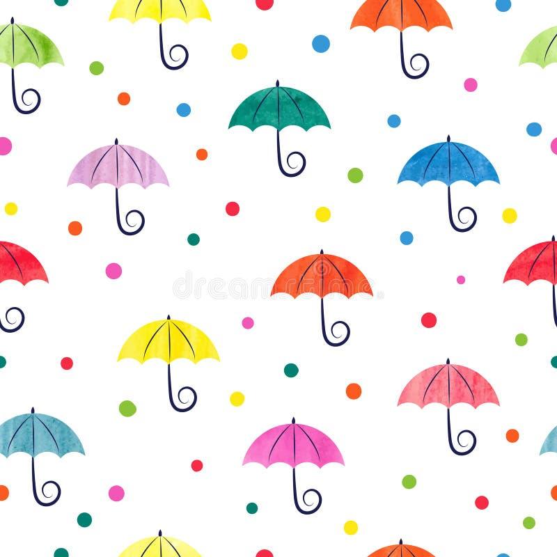Download Watercolor Umbrellas Seamless Pattern Stock Vector