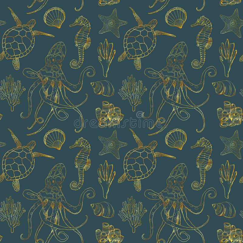 Watercolor undersea seamless pattern. Hand painted golden octopus, turtle, seahorse, laminaria, shell and coral reef stock image