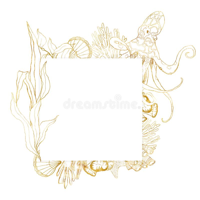 Watercolor underwater square frame. Hand painted golden octopus, laminaria, shell and coral reef plants isolated on. White background. Line art illustration for royalty free illustration