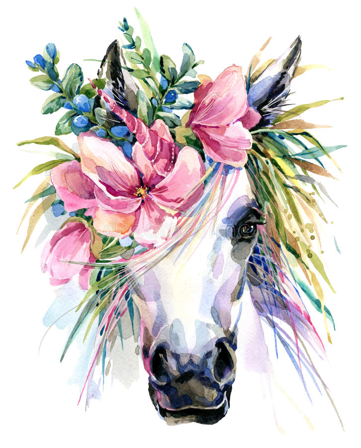 Watercolor unicorn illustration. White horse in flower wreath stock illustration