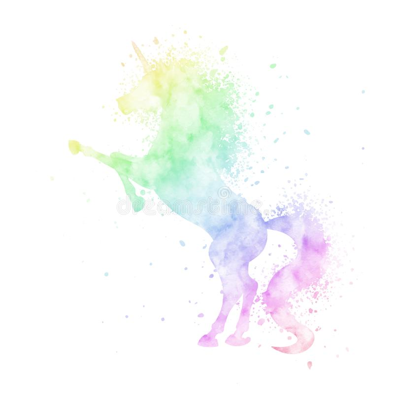 Vector watercolor unicorn silhouette painting with splash texture isolated on white background. Cute magic creature. Watercolor unicorn silhouette painting with royalty free illustration