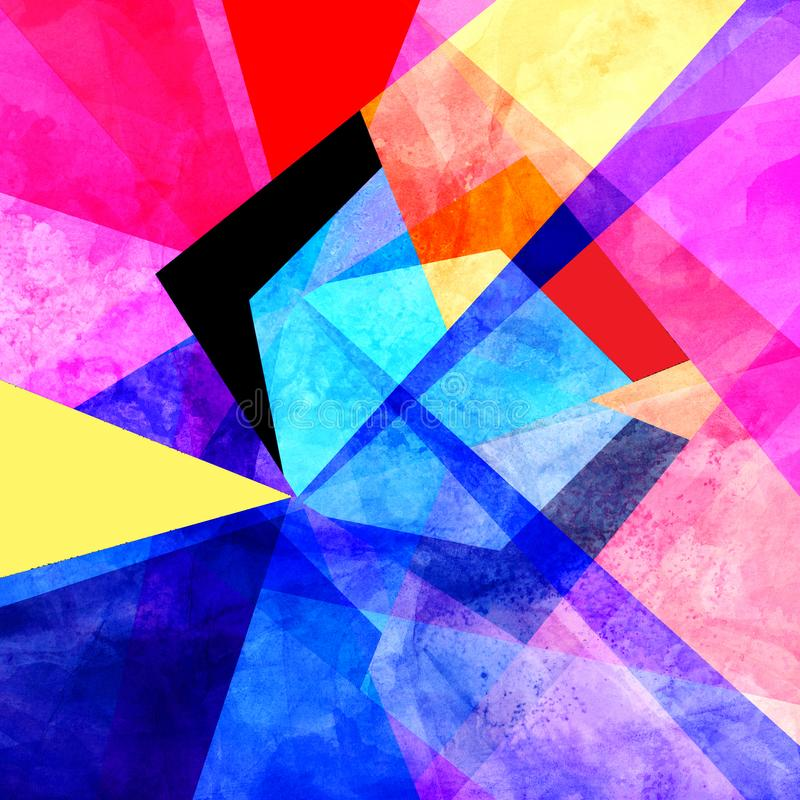 Watercolor unusually color abstract geometric super background. Watercolor retro color abstract geometric background. An example for the design of posters stock illustration