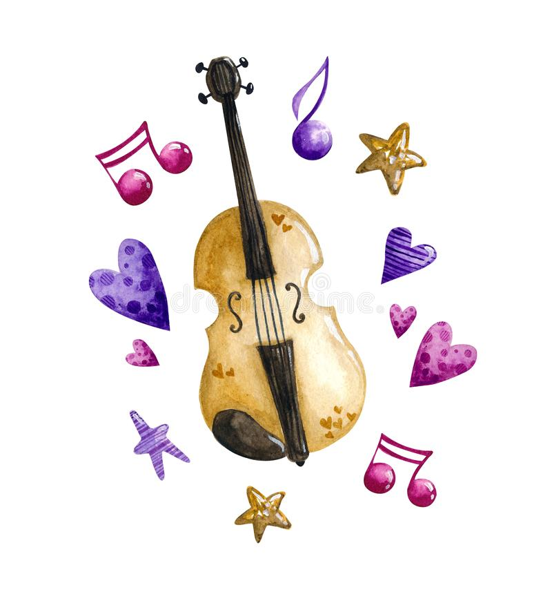 Watercolor Valentine`s Day. Set of watercolor elements on white background for Valentine`s Day, romance, love. Violin and hearts. Illustration of hand drawing vector illustration