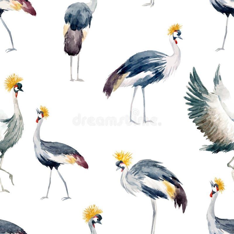 Watercolor vector african crane pattern stock illustration