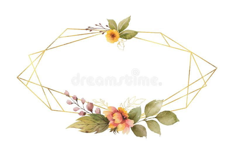 Watercolor vector autumn frame with roses, leaves iand gold geometric frame. stock illustration