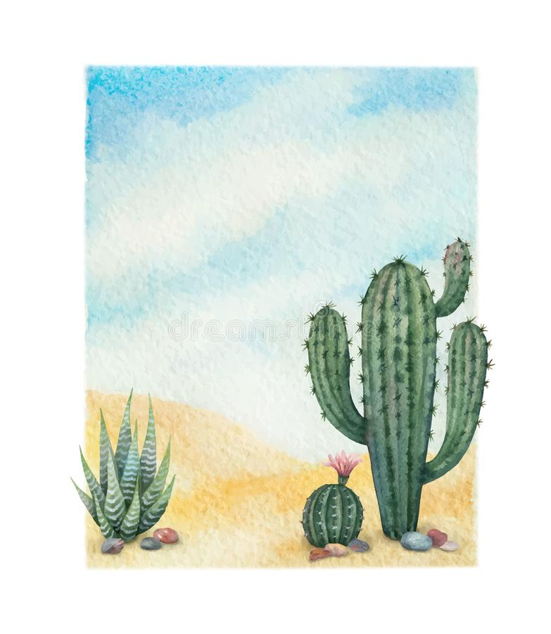 Free Watercolor Vector Background With Desert And Cacti. Royalty Free Stock Image - 112291786