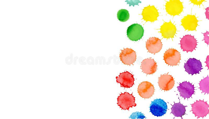 Watercolor vector bright stains. Collection of abstract watercolor blobs. Watercolor colorful background. Vector splatter illustration. Multicolored watercolor royalty free illustration