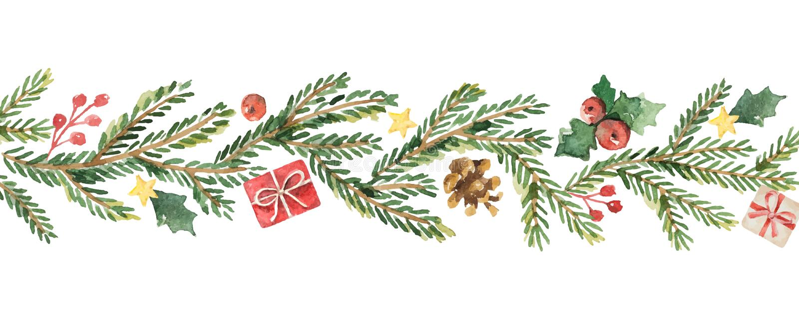 Watercolor vector Christmas banner with fir branches and place for text. vector illustration