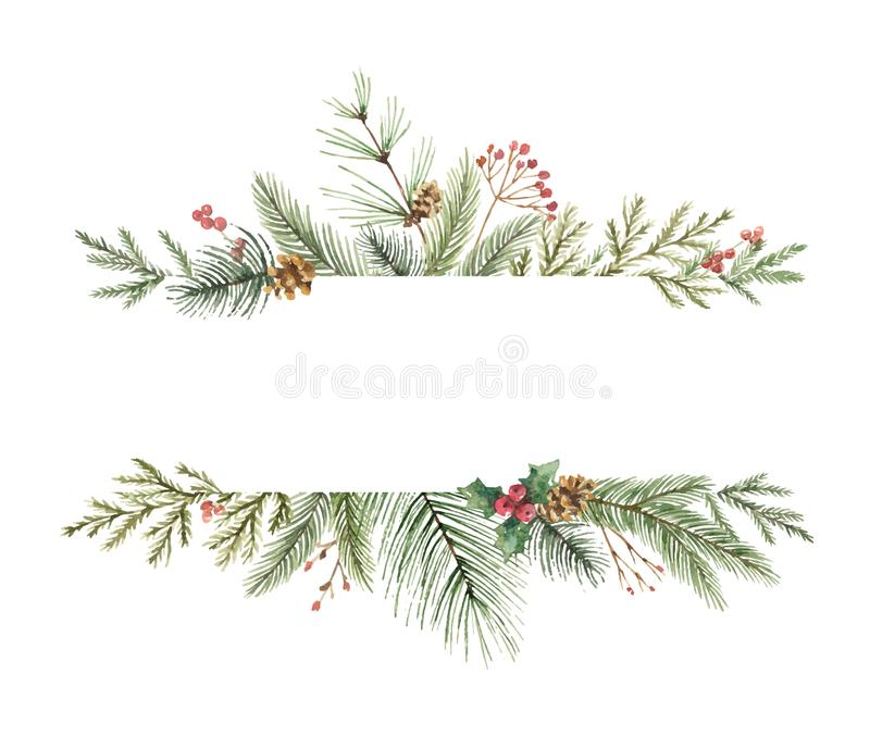 Watercolor vector Christmas banner with fir branches and place for text. stock illustration