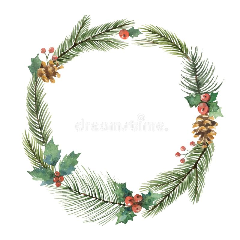 Watercolor vector Christmas frame with fir branches and place for text. royalty free illustration