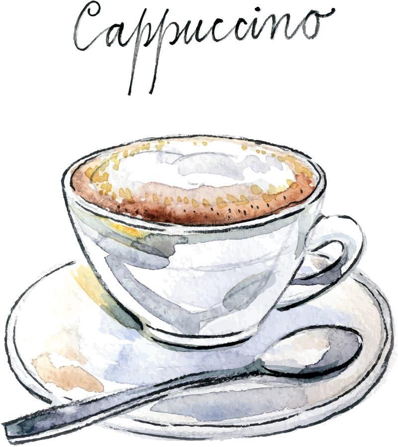 Watercolor vector coffee cappuccino stock illustration