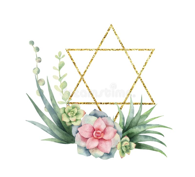 Watercolor vector composition of cacti, succulents and gold Star of David. stock illustration
