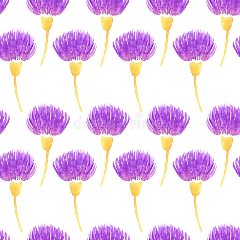 Watercolor vector floral seamless pattern with decorative violet thistle flowers. Spring vector illustration