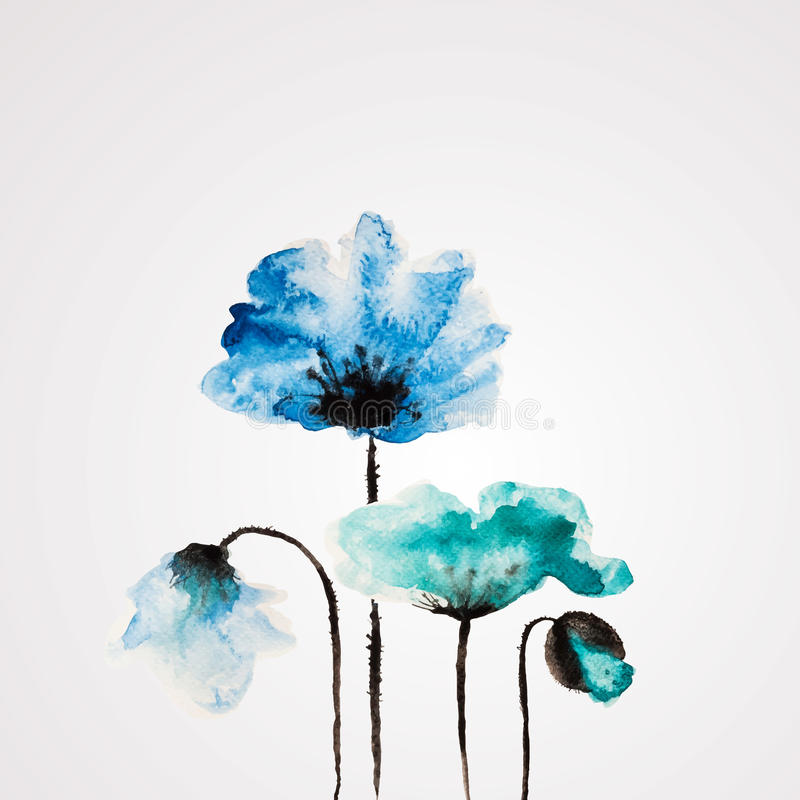 Watercolor vector flower royalty free illustration