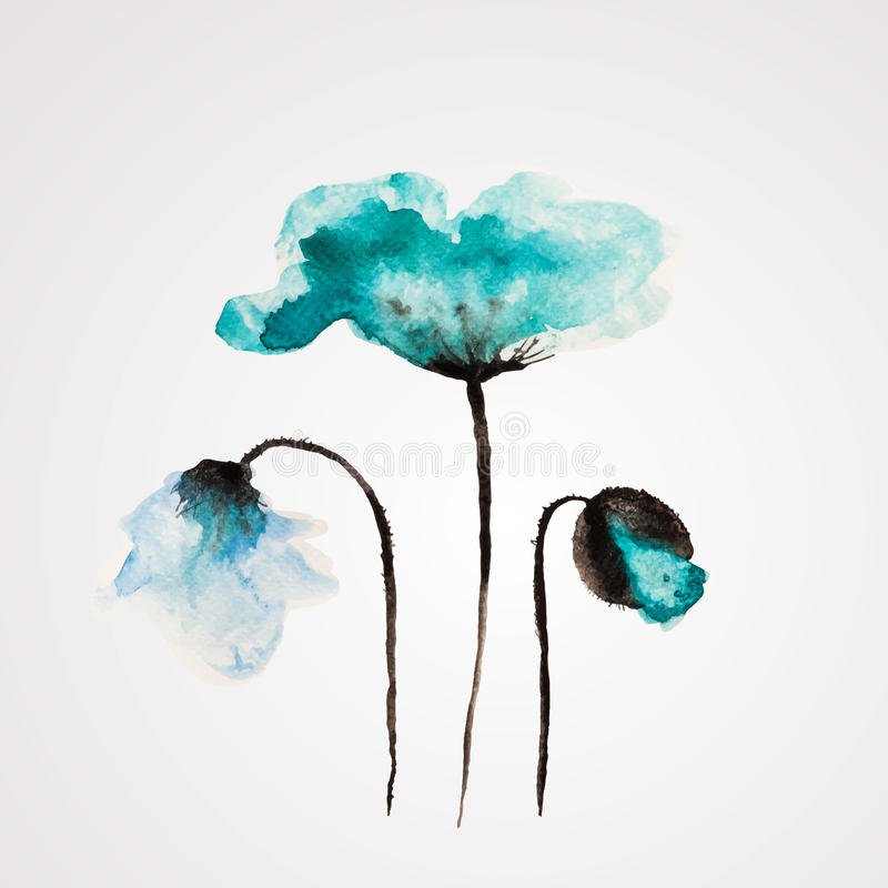 Watercolor vector flower vector illustration