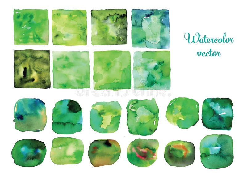 Watercolor vector frames and shapes, Green watercolor vector textures royalty free illustration